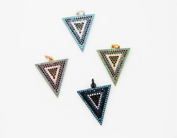 Mix Color CZ Micro Pave 20x22mm Triangle Pendant