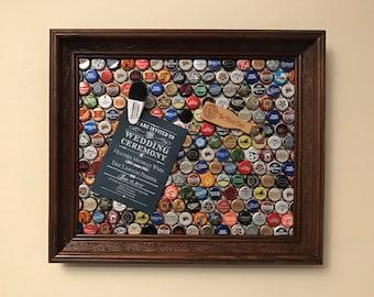 Framed UpCycled Beer Bottlecap Magnet Board