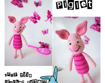 Piglet - amigurumi crochet pattern. Inspired by Winnie the Pooh film. PDF file. Language - English.