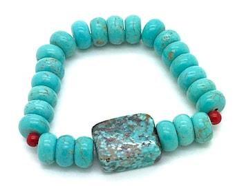 Southwest Feel, Turquoise Bracelet, Stretch Bracelet, Stackable Bracelet, Red Coral, Turquoise and Coral, Trending, Gift for Her, Boho