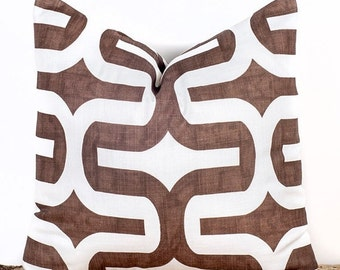 SALE ENDS SOON Brown and White Throw Pillow Case, Decorative Pillow Cover, Brown Tiles, Sizes 12 14 16 18 20 22