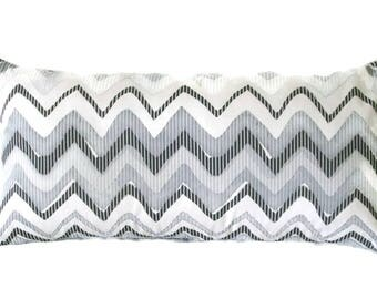 Black, Gray and White Decorative Pillow Cover In A Chevron Design, 3 Sizes Including Lumbar