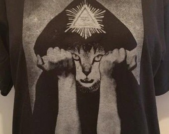 MEOWLEISTER CROWLEY shirt aleister cat lover satan demon devil witch witchcraft dark arts satanism