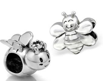 BUNCHABEADS 925 Sterling Silver Queen and Worker BEE Charm Beads - Set of 2
