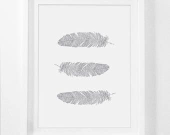 Grey Feathers Print, Feather Wall Art, Grey Wall Print, White Feather Wall Art, Light Grey Feathers Wall Print, Bohemian Wall Art, Art Print