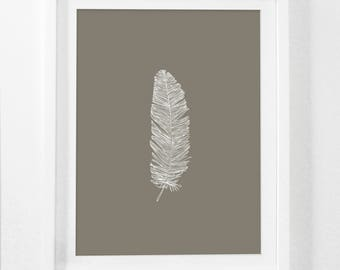 Feather Print, Brown Feather Print, Beige Feather Print, White Feather on Brown, Feather Art, Printable Brown Feather Artwork, Digital Art