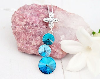 Blue sea green Swarovski crystal pendant necklace Sterling Silver Swarovski jewellery Wedding bridesmaids necklace 3 Rivoli Bermuda Blue