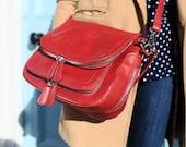 Vintage Red Leather Handbag  Vintage Red Leather Bag  Vintage Red Leather Messenger Bag  Red Leather Handbag Red Leather Bag