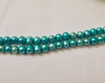 6mm Freshwater Cultured Pearls Electric Blue