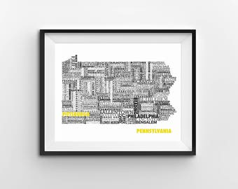Typographic Pennsylvania Map 8x10 -- customizable
