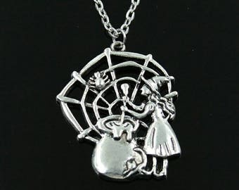 Sculpted Witch and Cauldron Halloween Necklace