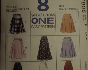 McCalls 7905, sizes 16-20, skirts, UNCUT sewing pattern, craft supplies, misses, womens, wrap skirt