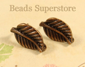 17 mm x 10 mm Antique Copper Leaf Ear Stud - Nickel Free, Lead Free and Cadmium Free - 6 pcs