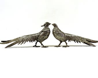 French Vintage Pheasant Figurines/Silver Plated Pheasants/Pheasant Statues Set of 2/Silver Bird Figurines/Pheasants/Pair Of Pheasant Stautes