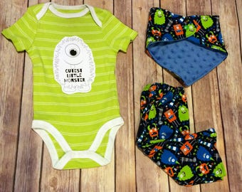Handmade Monster Jersey Knit Pants, Matching Bibdana with KAM snap closure & coordinating green bodysuit with Cutest Little Monster logo,