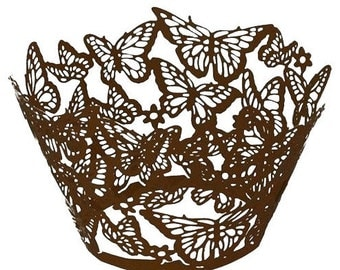12 Coffee Butterfly Lace cupcake liners / wrappers - regular size - CCW371