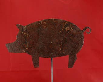 Metal Pig Sculpture Mounted On A Wooden Base
