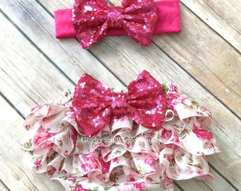Baby bloomer set, pink rose baby bloomer, diaper cover, infant girl outfit, 1st birthday, pink bow, pink bloomer, baby girl headband