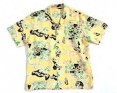 Fantastic 1940s 1950s Hula Rockabilly Hawaiian Shirt Reproduction Sun Surf (Japan) LARGE