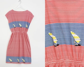 Vtg 80s Red, blue and white striped cotton dress size M