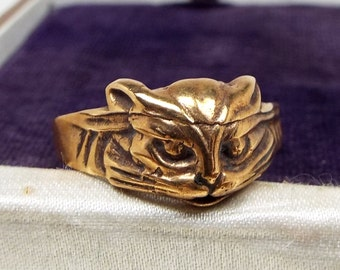 Gold Cat Ring Etsy
