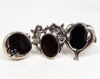 Vintage Set of 3 Silver Fantasy Mood Rings Moon Fairy Dolphin Rings / Adjustable