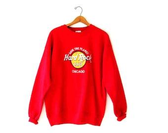 Vintage 1990's HARD ROCK Cafe Chicago Save the Planet Sweatshirt Sz XL
