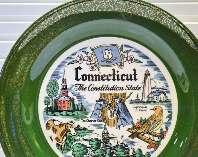 Vintage Connecticut State Decorative Plate Travel Souvenir Kitsch Nautilus PanchosPorch