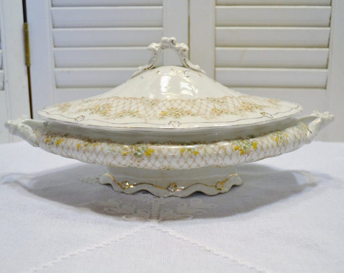 Antique Wedgwood Semi Royal Porcelain Bowl with Lid Floral Design Ornate Details English China Panchosporch