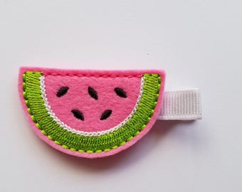 Watermelon Felt Hair Clip/Summer/Girl's Hair Clip/Baby Girl/Feltie/Hot Pink, Green and White