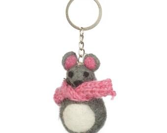 Mouse Keyring - Felt Animals - Needle felted - Wool felt - Original Gift - Children gift under 5 - Merino wool - Ethical - Handmade