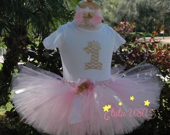 Baby girl pink and gold first birthday, 1st girl outfit, gold first birthday,personalized,baby girl outfit first birthday, hand cut sewn