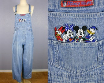 Vintage 90s Bib Overalls MICKEY Unlimited Dungarees GRUNGE Blue Denim Jumpsuit Hipster Indie Wide Leg Playsuit High Waist Normcore BOHO