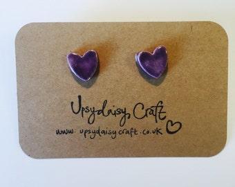 Ceramic heart stud earrings - Medium - Purple