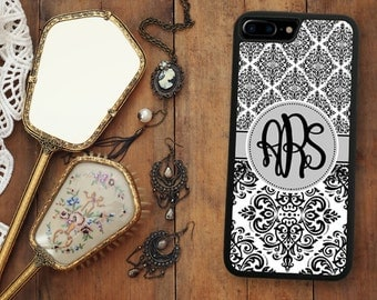 Black Damask iPhone 7 Case, Monogrammed iPhone 7 Plus Case Monogram 1263
