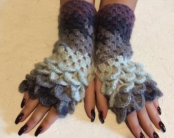 BLACK FRIDAY SALE! crochet gloves Fingerless  women fingerless gloves Dragon Scale women's gloves women's Arm Warmers winter gift Accessory