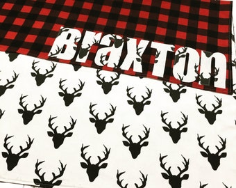 Buffalo Plaid Baby Blanket, Baby Name Blanket, Baby Blanket, Buffalo Plaid baby, Deer and Buffalo plaid