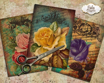Printable Vintage Cards, Digital Collage Sheet Greeting Cards print-it-yourself Vintage Paper Craft Jewelry backgrounds, Floral Cards
