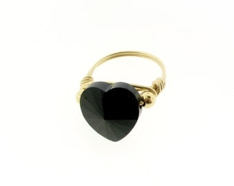 14k Gold Filled Ring With Swarovski Heart Shape Bead