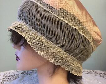 Edwardian Silk Lace Boudoir Cap/Antique Boudoir Night Cap/C1910s Silk and Lace Boudoir Cap/Lingerie Cap