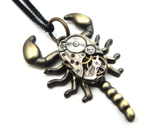 Clockworks Scorpion Pendant - Goth Scorpion Necklace - Edwardian Steampunk Scorpion Pendant -  Spooky Scorpion Pendant -  Steampunk Critter