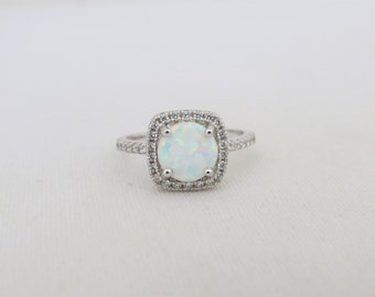 Vintage Sterling Silver White Opal & White Topaz Engagement Ring Size 9