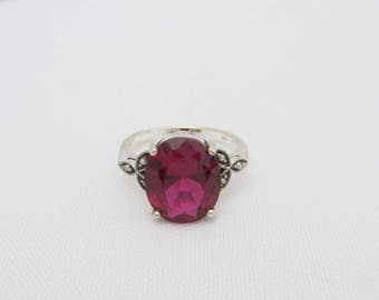 Vintage Sterling Silver Ruby & Seed Pearl Ring Size 6