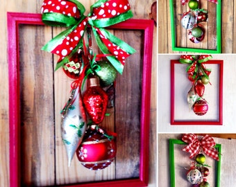 Christmas Wreath From 10x13 Picture Frame Picture Frame Christmas Wreath Christmas Door Decor