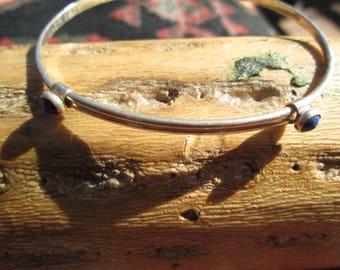 Lapis and Sterling Silver Slide Bangle Bracelet