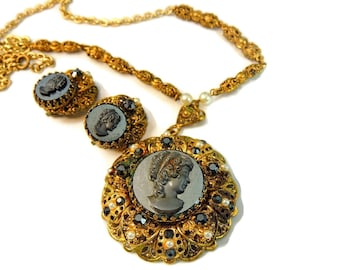 Vintage W. Germany Cameo Necklace Earring Set Ornate Victorian Style