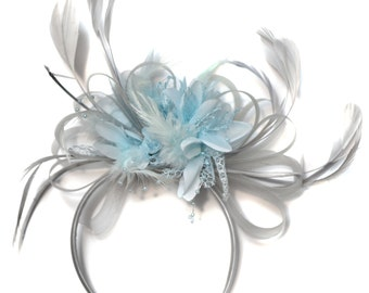 Silver Grey and Baby Blue Light Fascinator on Headband Alice Band UK Wedding Ascot Races Derby