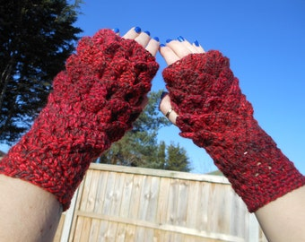 21st Birthday gift for her, red fingerless gloves, ladies accessories, dragon scale mitts, mermaid scales mittens, finger less mittens