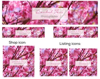 Premade etsy shop banner set, new cover set sizes, 6 pieces, pink blossom tree photo design