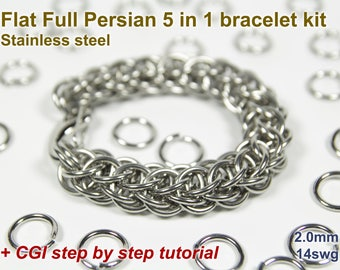 Flat Full Persian 5 in 1 Bracelet Kit, Chainmaille Kit, Stainless Steel, Chainmail Kit, Jump Rings, Lobster Clasp, Chainmail Tutorial